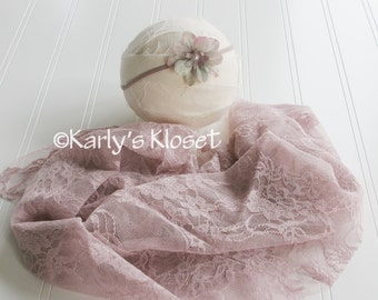 Baby Girl Wrap Prop, Light Mauve Newborn Lace Wrap, Newborn Props, Newborn Stretch Wrap, Posing Fabric Prop, Baby Girl Headband