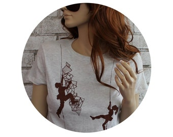Ladies Rock Climbing Tshirt, T Shirt, Climbers, Oatmeal With Brown Ink, Ladies Crewneck Graphic Tee