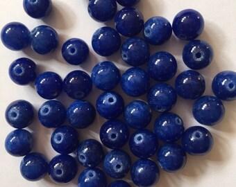 40 x round 8mm dark blue dyed jade beads