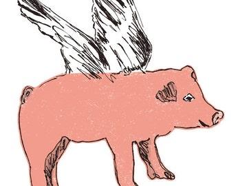 Flying Pig Fabric Sticker