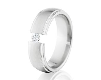 Custom 6mm Titanium Tension Set Ring Titanium Promise Ring Comfort Fit Tension Set Ring Made With Titanium : 6HRRC-br-tens