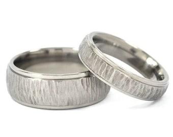 New His And Hers Wedding Band Set - Titanium Rings Treebark Finish: 8HRRC-TBP.5HRRC-TBP