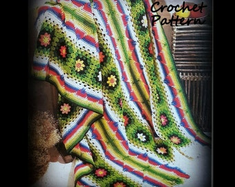 Crochet Afghan Pattern, Granny Square and Ombre Design, Instant Download PDF 12113569