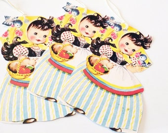 Retro Snow White -  Gift Tags - Mid Century Tag - 1950's Doll Tag - Set Of 3 - Fairy Tale Girl Tag - Thank Yous -  Vintage Doll Tag s-