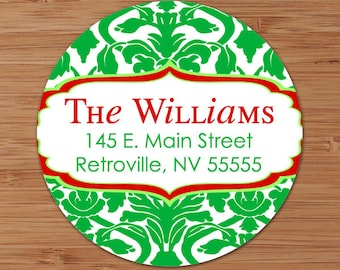 Christmas Damask - CUSTOM Christmas Address Labels or Stickers