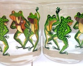 Vintage Mid Century Couroc Low Ball Dancing Frogs Drinking Glasses Set of Four