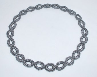 Crochet Necklace Silver Chain