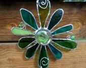Stained Glass Flower - Handmade - Suncatcher - Green - Aqua Green - Gift - Window Decor