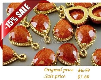 15% sale 2 unique bronze brown stardust glitter / shimmer colored glass pendants 5054G-BR-SD (bronze stardust)