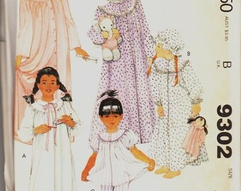 9032 McCall's Vintage 80's Girl's Nightgown Pajamas Robe & Cap Sewing Pattern size 8 - 10