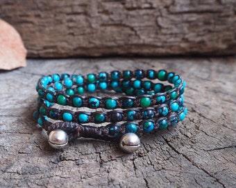 Mix Chrysocolla Blue Jasper Triple Wrap Bracelet