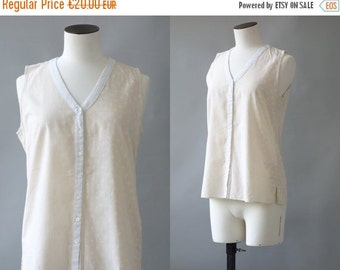 Sleeveless cotton shirt | 1990's by cubevintage | medium