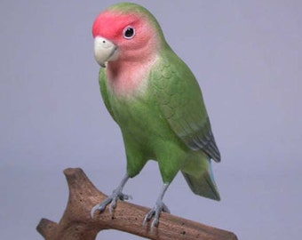 "5"" Peach-Faced Lovebird Hand Carved Wooden Bird"