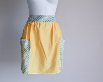 Butter Yellow & Aqua Half Apron