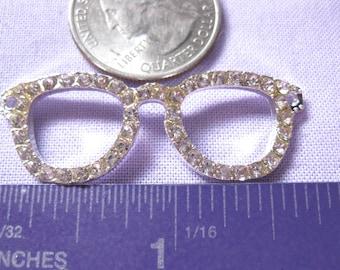 Rhinestone Eye Glasses frame Charm Pendant 1 Piece Tibetan Silver Jewelry Supply pendent eyeglasses connector