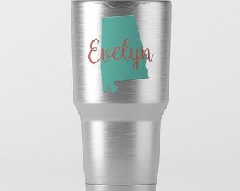 Personalized State Glitter Name Decal for Tumblers - Yeti, RTIC, Ozark Trail and More