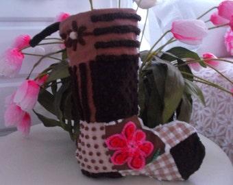 LOG CABIN CHRISTMAS Stocking Vintage Chenille Patchwork Design