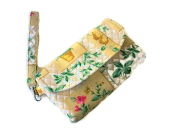 Yellow Floral Print Canvas Wristlet - Yellow Phone Pouch - Small Floral Handbag - Fabric Wristlet - Removable Strap - Yellow Clutch
