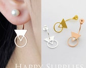 Nickel Free - Double Quotes Ear Studs Back Stoppers - Ear Jackets Golden / Silver / Rose Gold Brass Ear Cuffs Front Back Earrings (BE21)