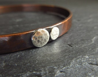 Copper bangle with sterling silver discs, hammered bracelet, oxidized copper, copper wedding anniversary gift, ladies bangle, mens bangle