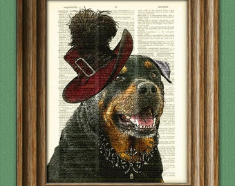 Helga the ROTTWEILER lady dog beautifully upcycled vintage dictionary page book art print