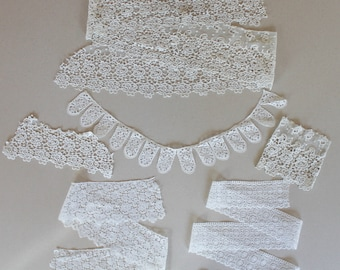 Lot of Vintage White and Off White Lace Trim