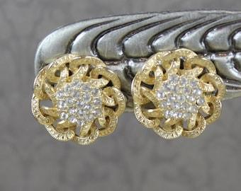 Vintage Golden Rhinestone Filigree Clip On Earrings