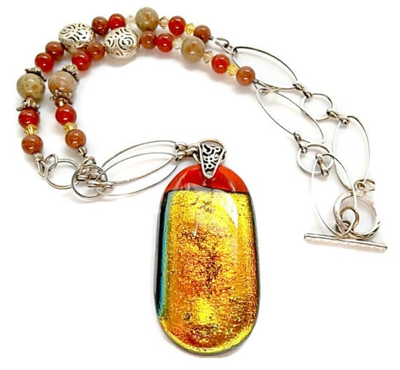 Dichroic Glass, Dichroic Fused Glass Necklace, Gemstone Necklace,  Fused Glass Pendant, Red Orange Silver, Goldstone and Carnelian Beads