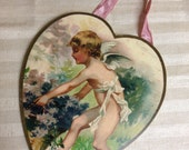 Valentine heart wooden plaque, vintage cherub, moonlight & Roses, Marta E. Peters