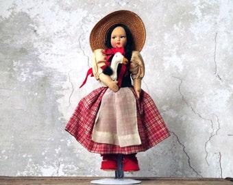 Antique Italy Felt Doll The Little Goose Girl - 1930s Souvenir Doll of Italy