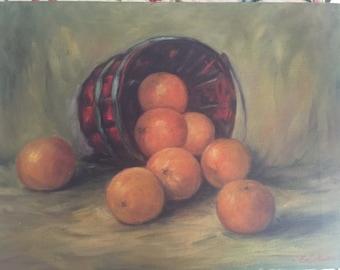 Vintage Still Life Painting Oranges Fruit Artist Signed Erickson