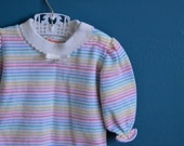 Vintage Baby Girl's Rainbow Striped Shirt by Health-tex - Size 6 Months