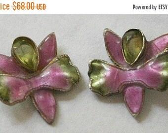 CIJ Christmas July SALE Elegant GUILLOCHE Enamel Green Peridot Stone Orchid Vintage Earrings