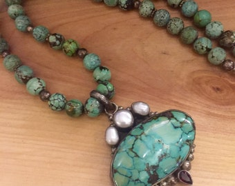 Beautiful Green Tibetan Turquoise Pearl Garnet Sterling Silver Vintage Necklace