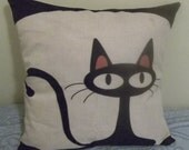 """CAT PILLOW COVER - 18"""" x 18"""", made from heavy cotton duck fabric, zipper closure."""