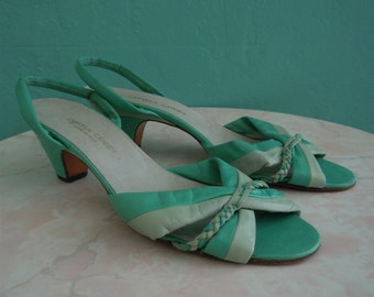 vintage two tone green leather sandals / size 39.5 size 8.5