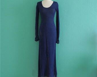 vintage 70's blue crochet cut out maxi dress ~ small medium