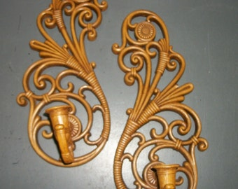 Burwood Wicker Look Curvy Candle Wall Sconces