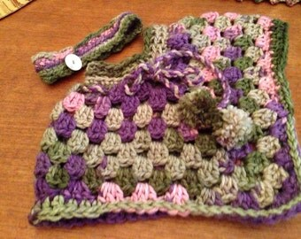 Poncho-crocheted-girls-handmade-thick multi- colored yarn- plus headband