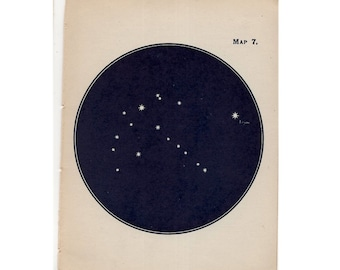 1910 mini constellation figures original antique celestial astronomy print -  map 7