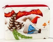 Gnome Nap in the Snow, Small Zipper Pouch, Christmas Coin Purse