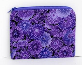 Small Zipper Pouch, Purple Mum Flowers, Coin Purse