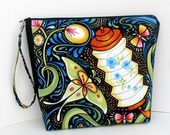 Tall Zippered Cosmetic Bag, Luminaria Lantern, Butterfly Project Bag Pouch with Strap