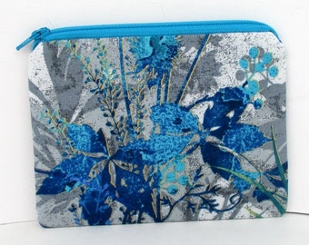 Small Zipper Pouch, Coin Purse, Blue Wildflower Dreamscape, Jason Yenter Fabric