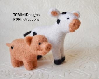 PDF Cow and Pig Barn Series Needle Felting Instructions, Beginner/Intermediate Level Fiber Art