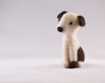 Polkadot the white and black dog, needle felted animal, art fiber sculpture