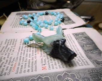 Wolf In Sheep's Clothing XXIII | Carved Amazonite Wolf Head Genuine Turquoise Jade Rosary Boho OOAK Necklace. Seafoam Green & Charcoal Stone