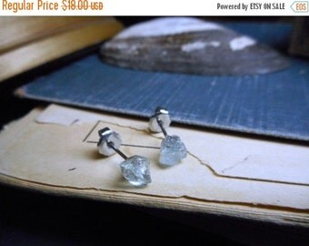 Crystal Springs. Rough Raw Aquamarine and titanium post Stud Boho rustic earrings. -no.1 Stone Temples Collection