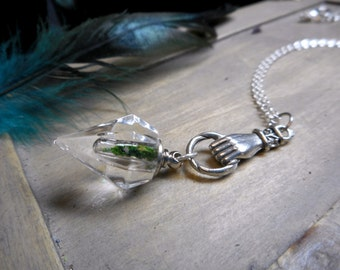 Huldra, Moss Maiden. Mini Perfume Crystal bottle with genuine moss & Hand Magical Folk Lore necklace