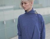 Winter Sale 15% Off!!! Back to stock!!! BLUE  color Oversized boyfriend terry sweatshirt